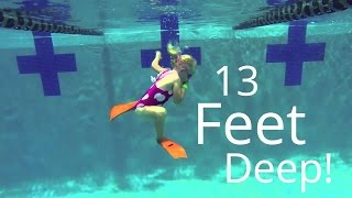 4 year old Elizabeth Dives down 13 feet deep.  does free style diving 12-13 feet!