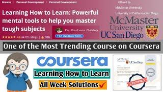 Coursera Learning How to Learn   Most Trending Coursera Course   All Week Solutions   Full Solved
