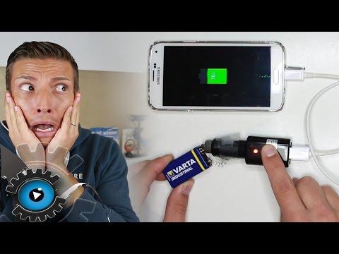 Wie lade ich mein Handy Akku mit einer 9v Batterie [Deutsch]