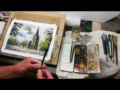 Thumbnail of How to prepare watercolour paper and get your materials ready for painting.