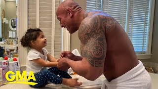 Dwayne Johnson Sings You're Welcome While Washing Hands With Daughter