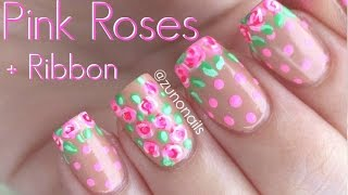 Breast Cancer Awareness BCA | Pink Roses + Ribbon! Nail Art by ZunoNails