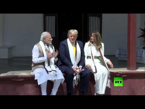 العرب اليوم - شاهد: زيارة دونالد ترامب وزوجته ميلانيا إلى منزل غاندي في مدينة أحمد آباد