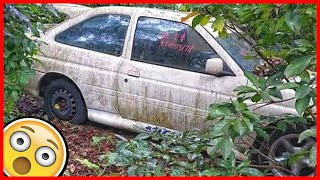 Rare Abandoned Ford Escort RS Cosworth stood in a regular garden for 26 years
