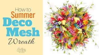 How To Make A Summer Deco Mesh Wreath With Two Colors