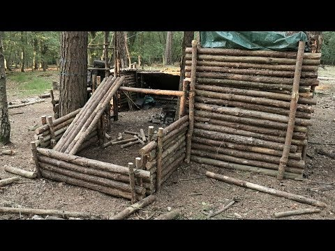 Building A Dog House Shelter At The Bushcraft Camp (Part 1)