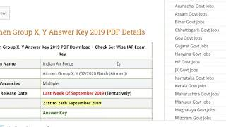 IAF Airmen Group X, Y Answer Key 2019 PDF Download