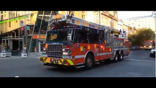 preview picture of video 'Fire trucks responding - Montreal Fire Department - Service Sécurité incendie Montréal'