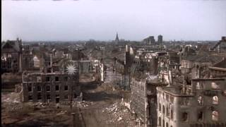 View of bomb damaged buildings and Rhine River in Germany HD Stock Footage