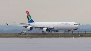 SOUTH AFRICAN Airbus A340-600 [ZS-SNI] Takeoff from New York JFK Airport [Full HD]