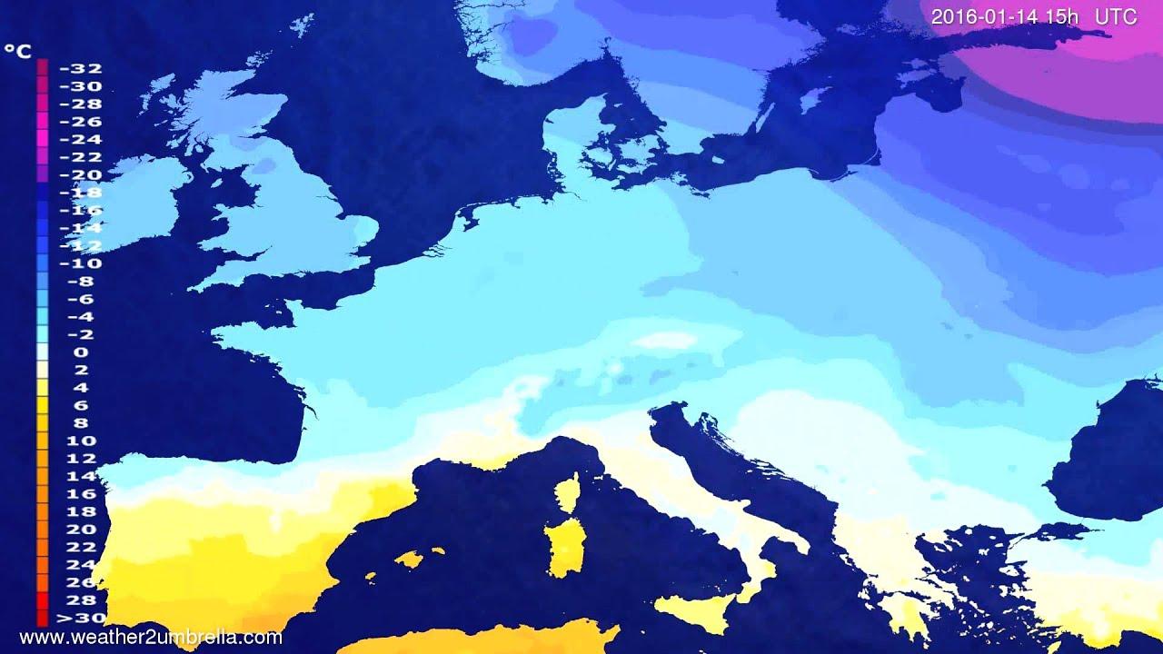 Temperature forecast Europe 2016-01-12