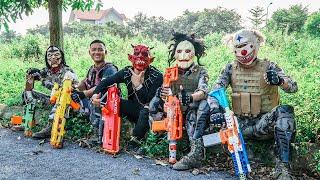 LTT Nerf Mod : Captain Warriors Black Use Nerf Guns Fight Crime Dangerous Mask One Eye