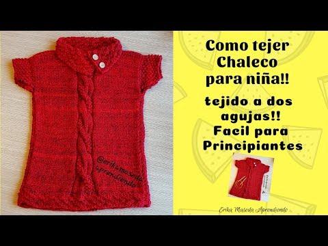 Como tejer Chaleco para niña, tejido a dos agujas, facil para principiantes, primera parte!!