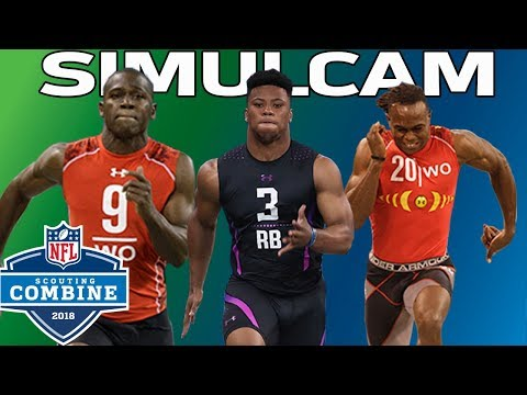40-Yard Dash Simulcam: Barkley vs. AB, Julio & More!   NFL Combine Highlights