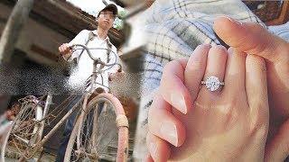 Chàng trai 4 năm đi xe đạp bất ngờ cầu hôn bạn gái bằng nhẫn kim cương 2 tỷ và cái kết
