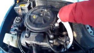 Холодный запуск мотоколяски Ока в сильный мороз