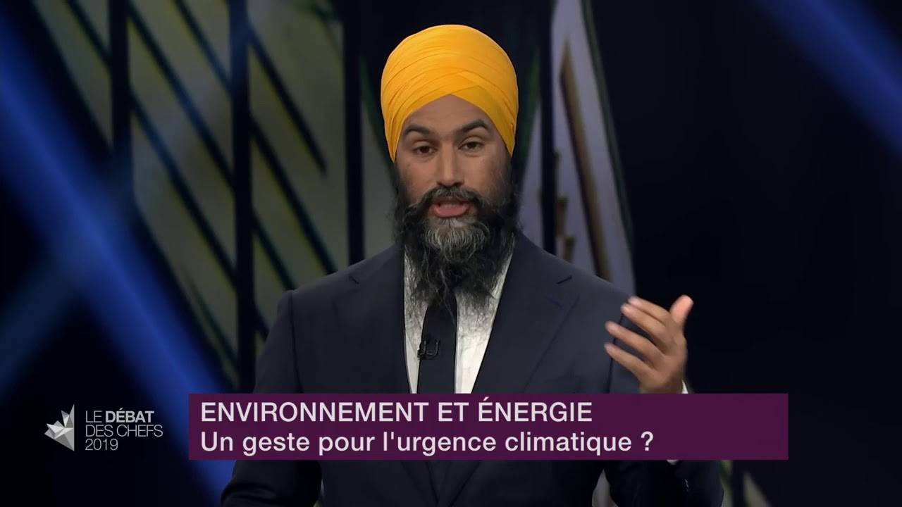 Jagmeet Singh answers a question about fighting climate change