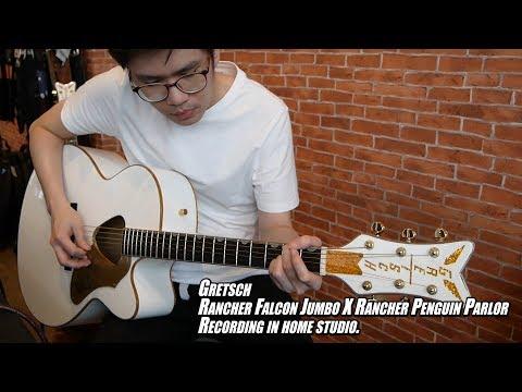 Strings Quick Demo : Gretsch Falcon Jumbo X Penguin Parlor direct recording in home studio