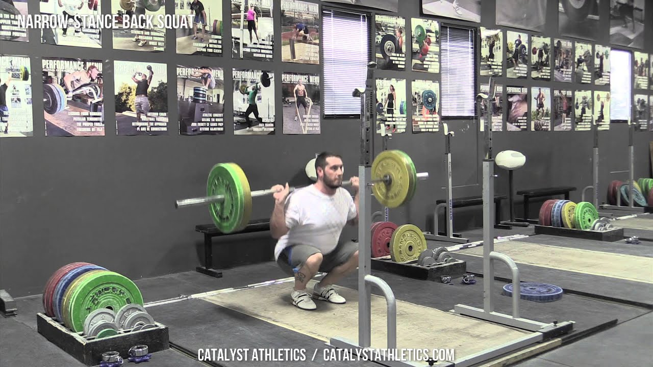 Narrow-Stance Back Squat Exercise Demo Video and Info