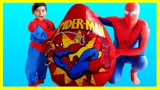 SPIDERMAN GIANT EGG SURPRISE TOYS Spiderman Opening Surprise Toys Spiderman Videos IRL Kids Video