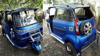 Modification 3 wheeled Auto Rickshaw modified with Tata Nano doors ( Beautiful Cars In India )