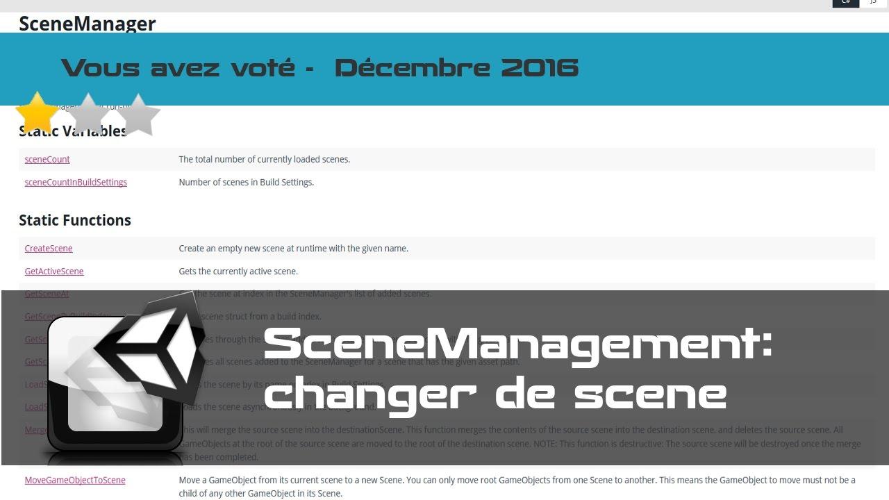 Tuto Unity FR - Comment changer de scène - SceneManager