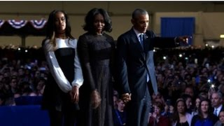 Obama cries during tribute to Michelle, daughters - VIDEO