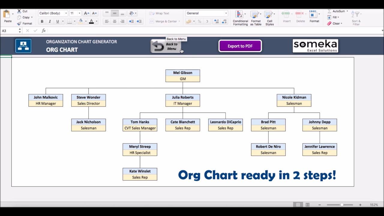 Automatic organizational chart generator  basic version someka excel template video also maker rh
