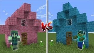 Minecraft BOY HOUSE VS GIRL HOUSE MOD / HELP MARK AND MARIE THE FRIENDLY ZOMBIE !! Minecraft