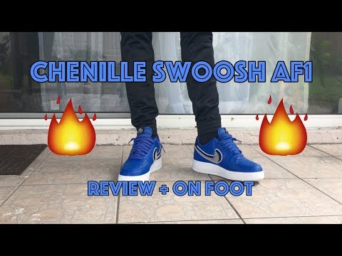 AIR FORCE 1 LOW CHENILLE SWOOSH BLUE /  GAME ROYAL | REVIEW AND ON FOOT