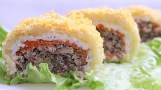 ПРАЗДНИЧНЫЙ САЛАТ-РУЛЕТ МИМОЗА🌻ПРОСТОЙ РЕЦЕПТ🌻 Mimosa salad recipe