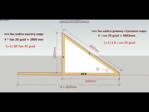 как найти высоту крыши и длину стропило по углу наклона