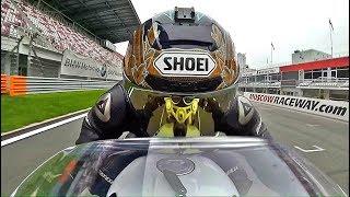 BMW R NineT Racer On Race Track. 2 Onboard Cameras.