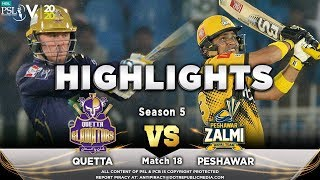 Peshawar Zalmi vs Quetta Gladiators | Full Match Highlights | Match 18 | 5 March | HBL PSL 2020  Subscribe to Official HBL Pakistan Super League Channel and stay updated with the latest happenings. http://bit.ly/PakistanSuperLeagueOfficial  #HBLPSLV #TayyarHain  Cricket fans from around the world are excited about the Fifth edition of the HBL Pakistan Super League. Competition is heating up among fans as their favorite HBL Pakistan Super League teams take on each other in the lucrative cricket extravaganza which includes leading Pakistan national cricketers, established international players, and emerging players in each of the team's Playing XI.