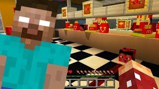 Herobrine McDonalds'da ZOMBİ ETİ YEDİ! Minecraft PE Korku Haritası