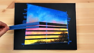 Aesthetic Sunset | Black Canvas Painting | Easy Abstract Landscape Acrylic Painting