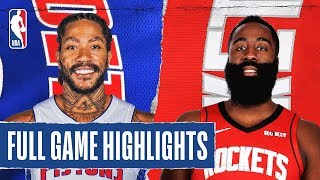 PISTONS at ROCKETS   FULL GAME HIGHLIGHTS   December 14, 2019  The Detroit Pistons defeated the Houston Rockets, 115-107. Luke Kennard led the way for the Pistons with 22 PTS and 7 REB, while Derrick Rose added 20 PTS and 12 AST in the victory. James Harden recorded 39 PTS, 6 REB and 7 AST for the Rockets.  Catch Sunday's action on NBA TV: New York Knicks at Denver Nuggets, 8:00 pm/et  Subscribe to the NBA: https://on.nba.com/2JX5gSN   Full Game Highlights Playlist: https://on.nba.com/2rjGMge  For news, stories, highlights and more, go to our official website at https://nba_webonly.app.link/nbasite  Get NBA LEAGUE PASS: https://nba.app.link/nbaleaguepass5