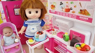Cake kitchen baby doll cooking play and camping car play
