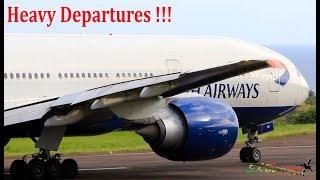Boeing Departures !!! British Airways 777-200, Amerijet 767-300F departing St. Kitts !!