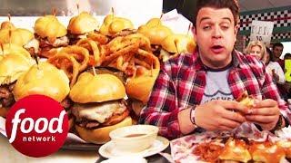 Will This Brisket-Filled Slider Challenge Defeat Adam?!   Man v Food