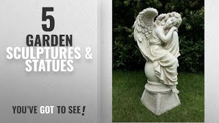 Top 10 Garden Sculptures & Statues [2018]: LARGE SITTING ANGEL GARDEN ORNAMENT SCULPTURE STATUE