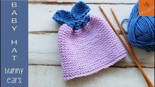 How to knit the easiest Baby Hat with Bunny Ears (for beginners)-So Woolly