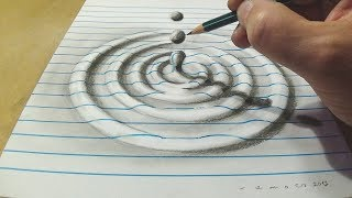 How to Draw Water Drop With Charcoal Pencil - Trick Art on Line Paper - Anamorphic Illusion