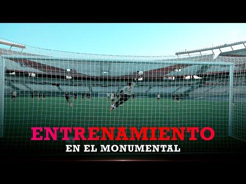 La vuelta del plantel al Monumental: ¡Probando al arco!