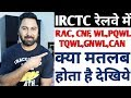 IRCTC Or Indian Railway PQWL, RLWL, RAC, PQWL, WL, and TQWL What Is This For Train Ticket Booking