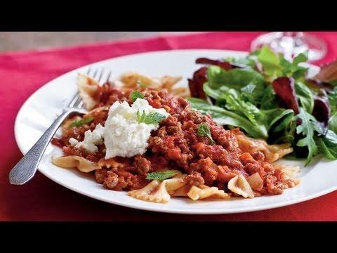 Farfalle with Lamb Ragu, Ricotta, and Mint Recipe