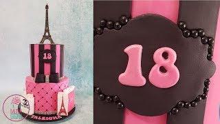 Pink Paris Themed Birthday Cake