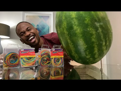Trying to make this watermelon EXPLODE! with rubberbands