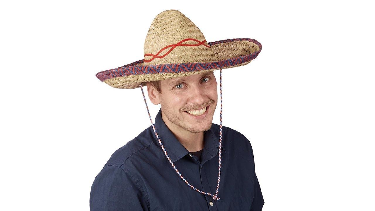Sombrero Hut Stroh mit Kinnriemen Mexikohut gelb kaufen | relaxdays.de