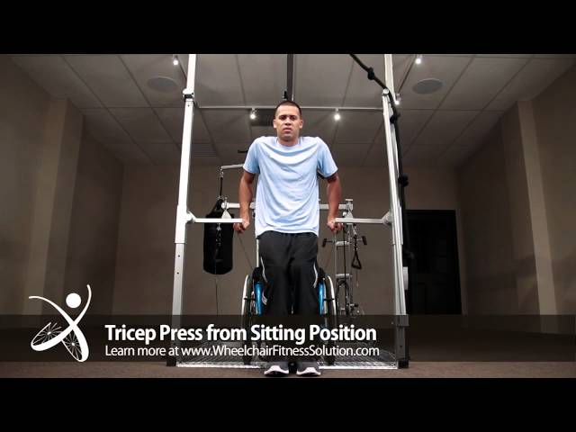 Wheelchair Fitness Solution | Exercise: Tricep press from Sitting Position (6 of 40)